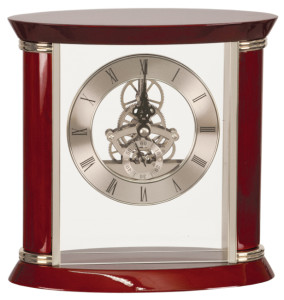 EX102 Rosewood Silver Piano Finish Clock 8