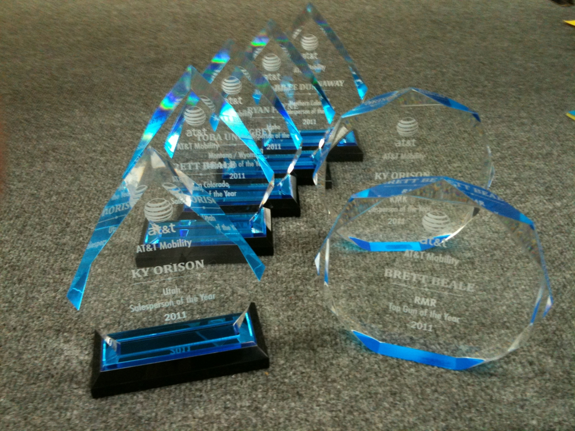 laser engraved acrylic awards for AT&T