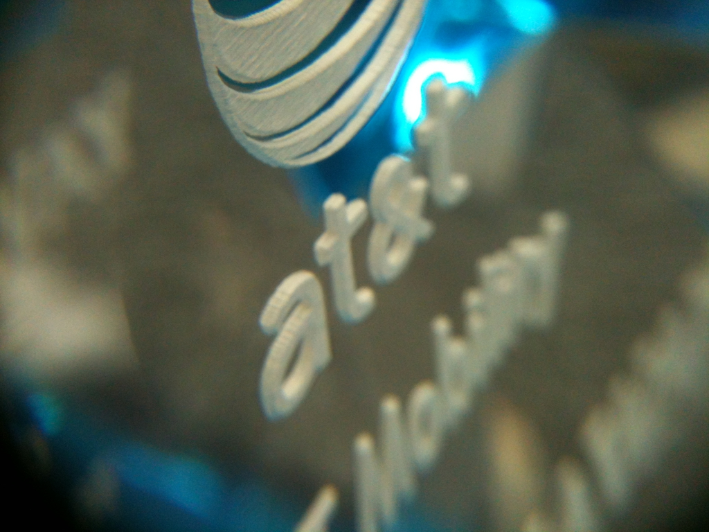 laser engraved acrylic award detail