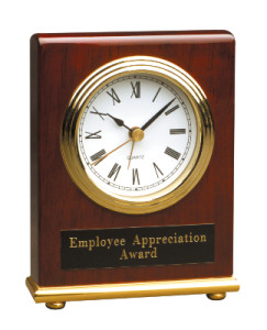 T005 Rosewood Piano Finish Rectangle Desk Clock 4x5