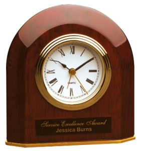 T065 Rosewood Piano Finish Beveled Arch Desk Clock 5x6